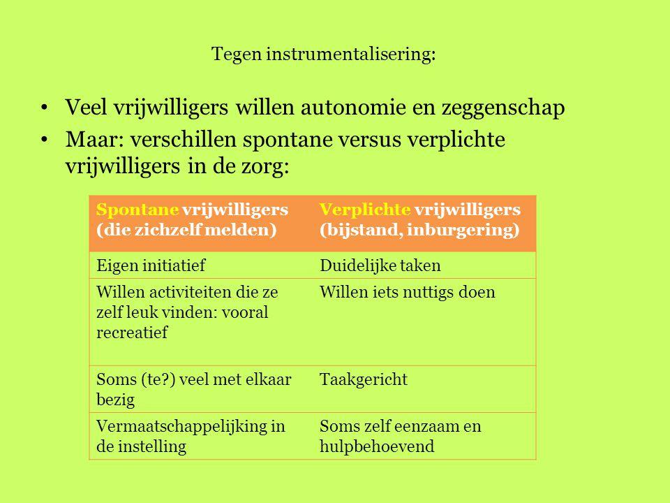 Tegen instrumentalisering: Veel vrijwilligers willen autonomie en zeggenschap Maar: verschillen spontane versus verplichte vrijwilligers in de zorg: S