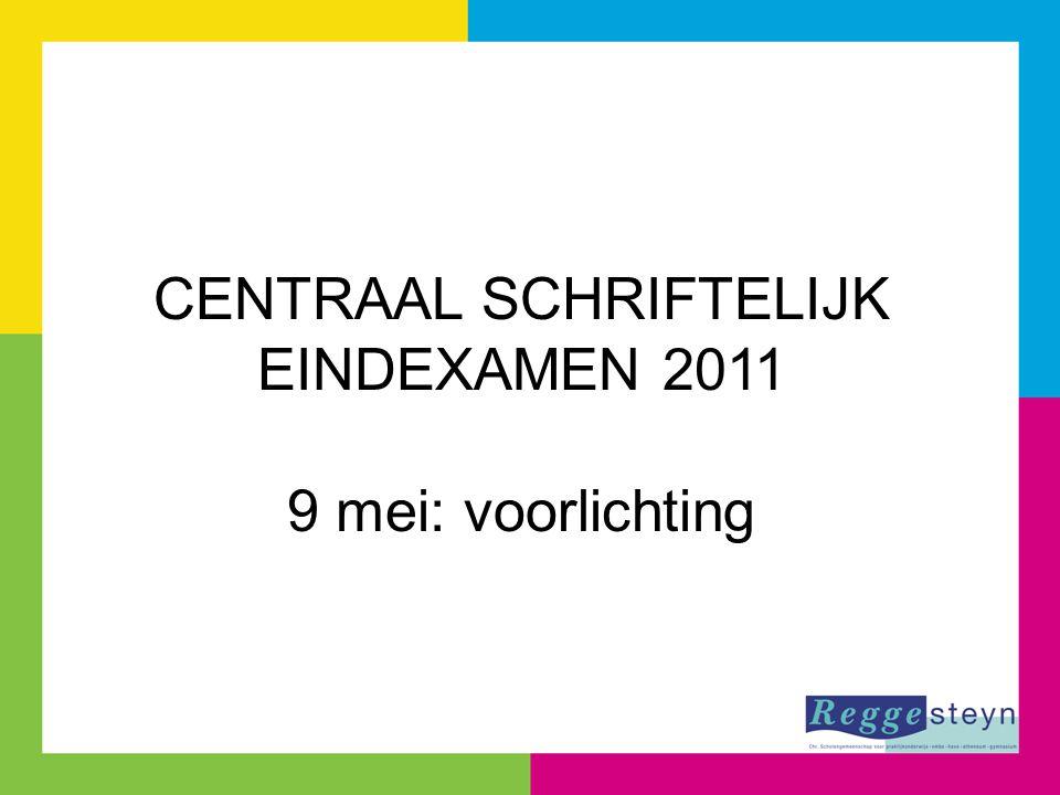 CENTRAAL SCHRIFTELIJK EINDEXAMEN 2011 9 mei: voorlichting