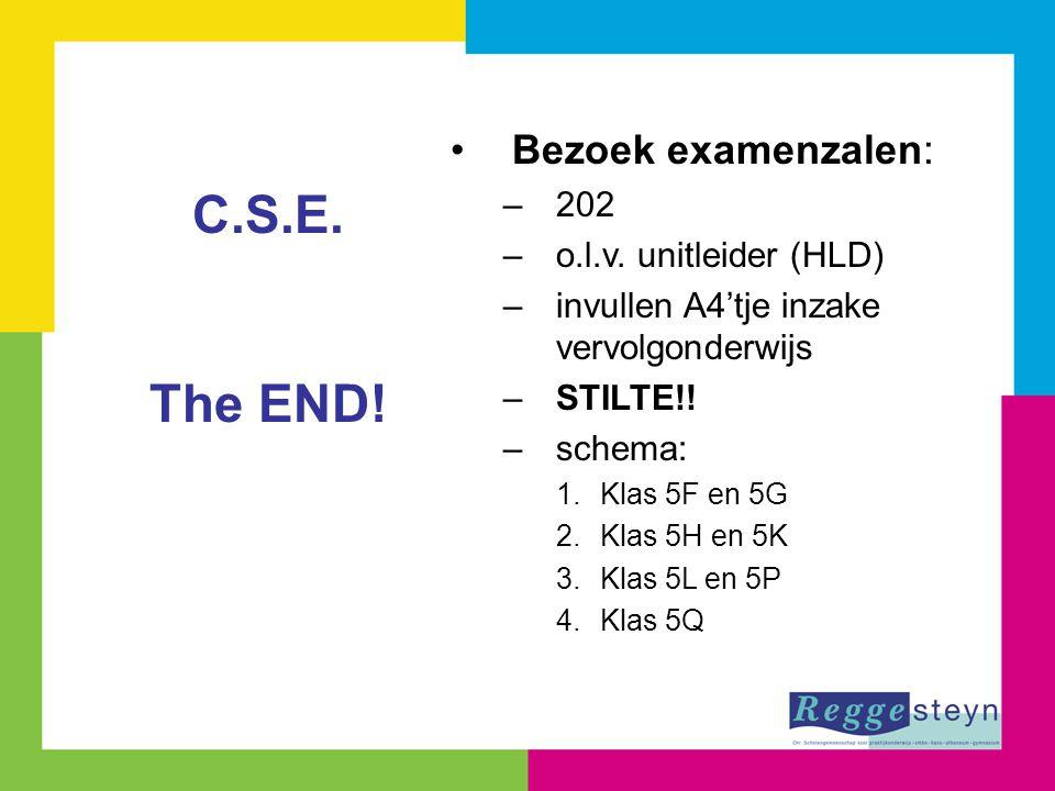 Bezoek examenzalen: –202 –o.l.v. unitleider (HLD) –invullen A4'tje inzake vervolgonderwijs –STILTE!! –schema: 1.Klas 5F en 5G 2.Klas 5H en 5K 3.Klas 5