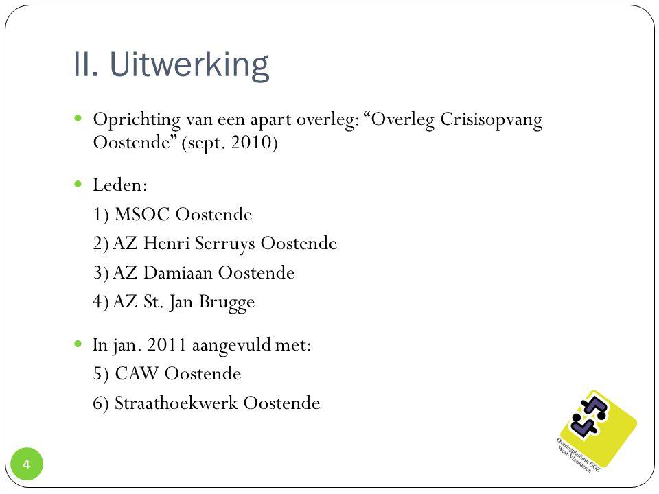 """II. Uitwerking Oprichting van een apart overleg: """"Overleg Crisisopvang Oostende"""" (sept. 2010) Leden: 1) MSOC Oostende 2) AZ Henri Serruys Oostende 3)"""