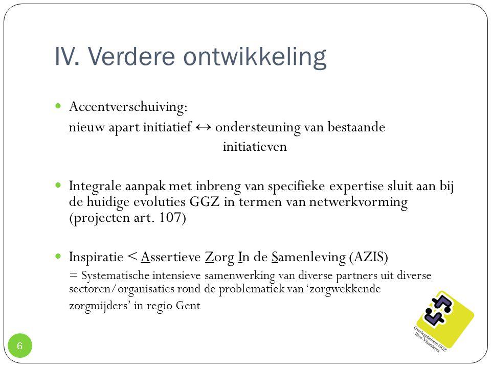 IV. Verdere ontwikkeling 6 Accentverschuiving: nieuw apart initiatief ↔ ondersteuning van bestaande initiatieven Integrale aanpak met inbreng van spec