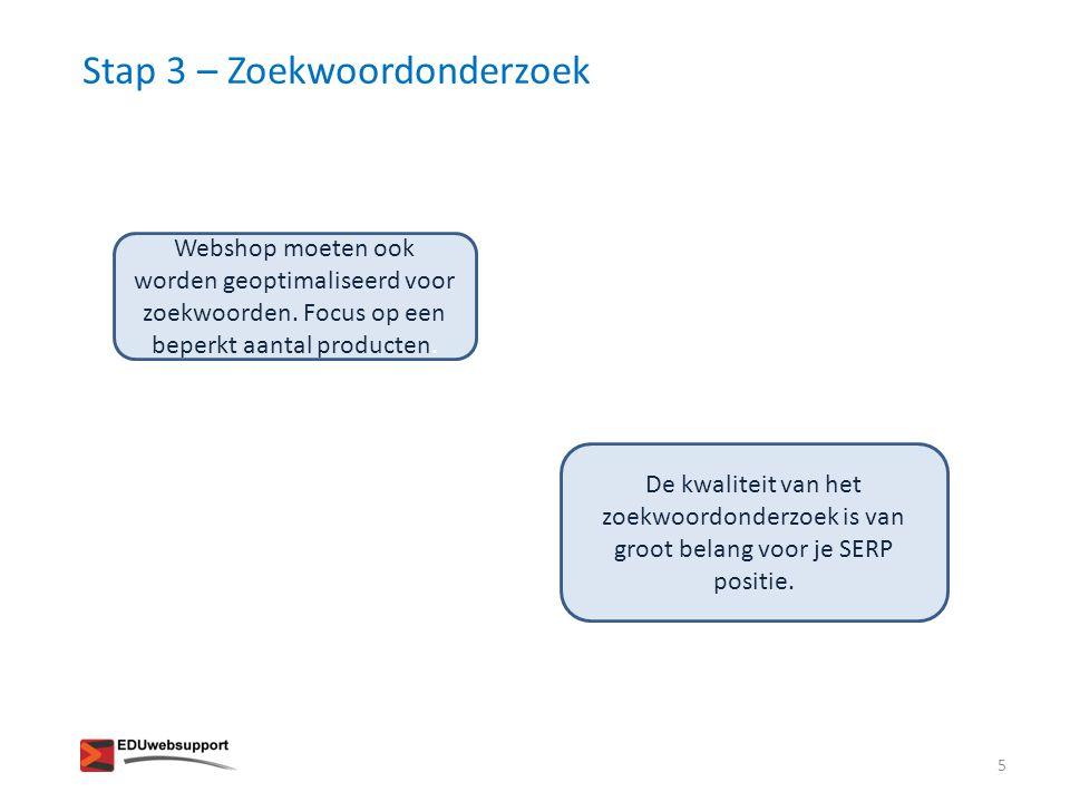 Stap 3 – Zoekwoordonderzoek Webshop moeten ook worden geoptimaliseerd voor zoekwoorden.