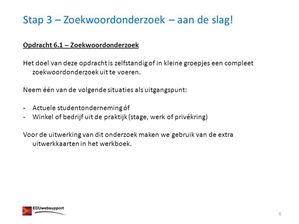 Stap 3 – Zoekwoordonderzoek – aan de slag.