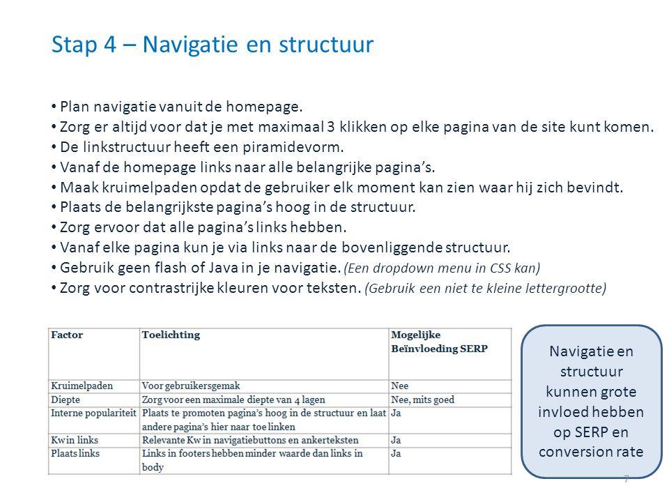 Stap 4 – Navigatie en structuur Plan navigatie vanuit de homepage. Zorg er altijd voor dat je met maximaal 3 klikken op elke pagina van de site kunt k