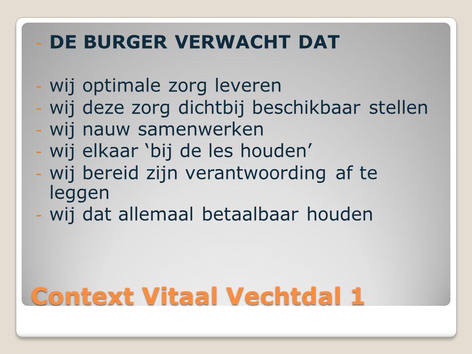 Context Vitaal Vechtdal 1 - DE BURGER VERWACHT DAT - wij optimale zorg leveren - wij deze zorg dichtbij beschikbaar stellen - wij nauw samenwerken - w