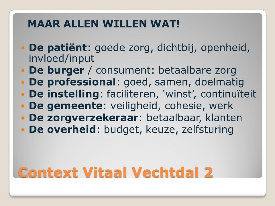 Context Vitaal Vechtdal 2 MAAR ALLEN WILLEN WAT! De patiënt: goede zorg, dichtbij, openheid, invloed/input De burger / consument: betaalbare zorg De p