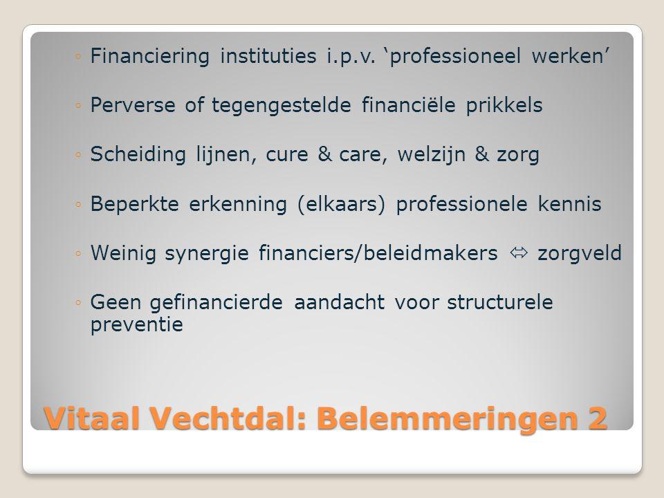 Vitaal Vechtdal: Belemmeringen 2 ◦Financiering instituties i.p.v. 'professioneel werken' ◦Perverse of tegengestelde financiële prikkels ◦Scheiding lij