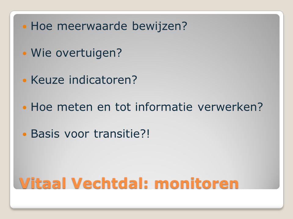 Vitaal Vechtdal: monitoren Hoe meerwaarde bewijzen? Wie overtuigen? Keuze indicatoren? Hoe meten en tot informatie verwerken? Basis voor transitie?!