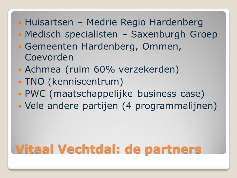 Vitaal Vechtdal: de partners Huisartsen – Medrie Regio Hardenberg Medisch specialisten – Saxenburgh Groep Gemeenten Hardenberg, Ommen, Coevorden Achme