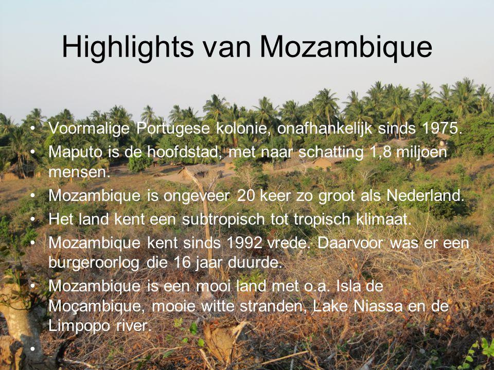 Highlights van Mozambique Voormalige Portugese kolonie, onafhankelijk sinds 1975. Maputo is de hoofdstad, met naar schatting 1,8 miljoen mensen. Mozam