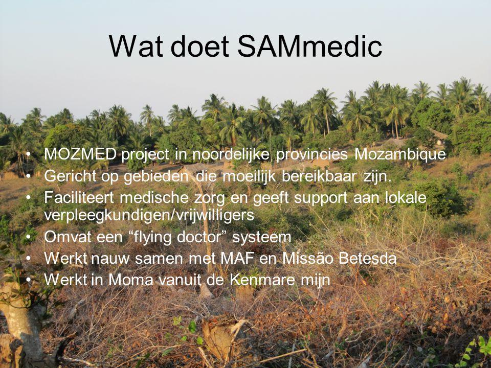 Wat doet SAMmedic MOZMED project in noordelijke provincies Mozambique Gericht op gebieden die moeilijk bereikbaar zijn. Faciliteert medische zorg en g