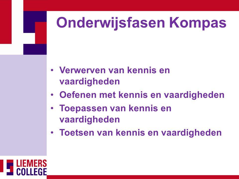 Onderwijsfasen Kompas Verwerven van kennis en vaardigheden Oefenen met kennis en vaardigheden Toepassen van kennis en vaardigheden Toetsen van kennis