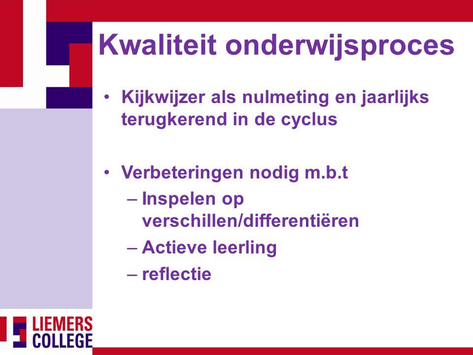 Kwaliteit onderwijsproces Kijkwijzer als nulmeting en jaarlijks terugkerend in de cyclus Verbeteringen nodig m.b.t –Inspelen op verschillen/differenti