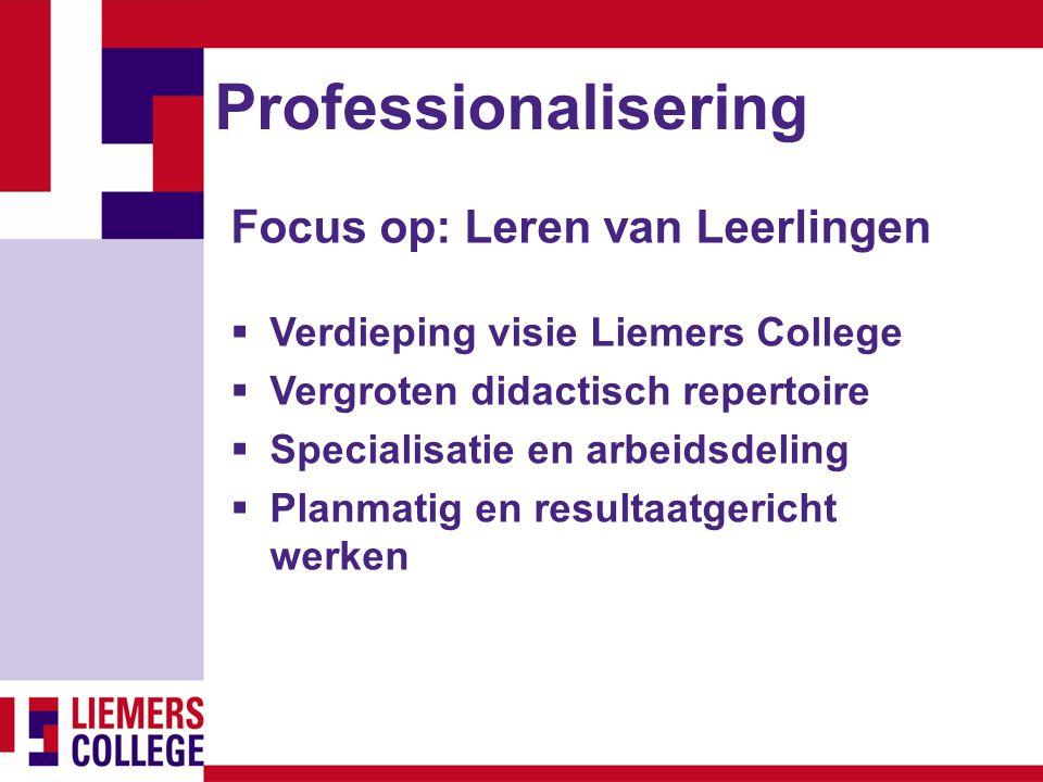 Professionalisering Focus op: Leren van Leerlingen  Verdieping visie Liemers College  Vergroten didactisch repertoire  Specialisatie en arbeidsdeli