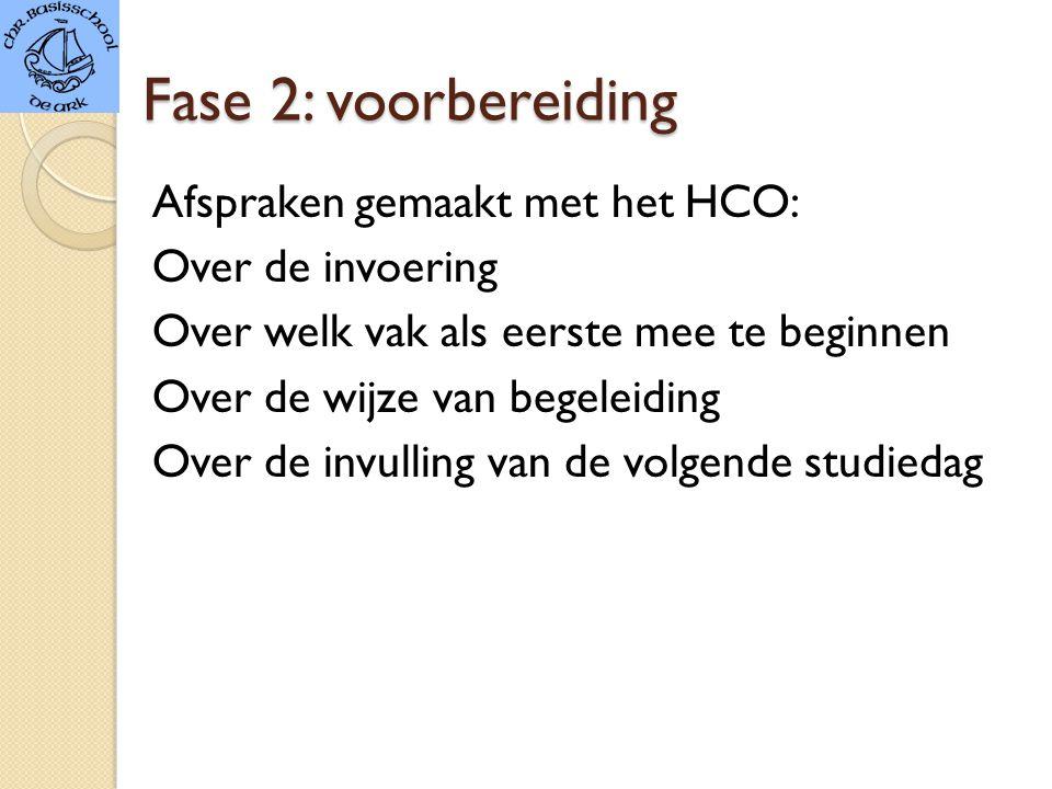 Fase 2: voorbereiding Afspraken gemaakt met het HCO: Over de invoering Over welk vak als eerste mee te beginnen Over de wijze van begeleiding Over de invulling van de volgende studiedag