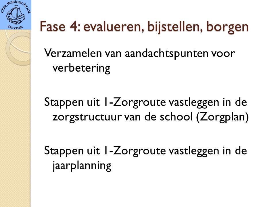 Fase 4: evalueren, bijstellen, borgen Verzamelen van aandachtspunten voor verbetering Stappen uit 1-Zorgroute vastleggen in de zorgstructuur van de school (Zorgplan) Stappen uit 1-Zorgroute vastleggen in de jaarplanning