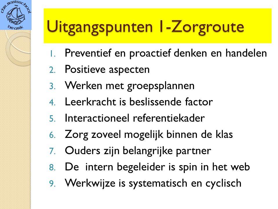Uitgangspunten 1-Zorgroute 1.Preventief en proactief denken en handelen 2.