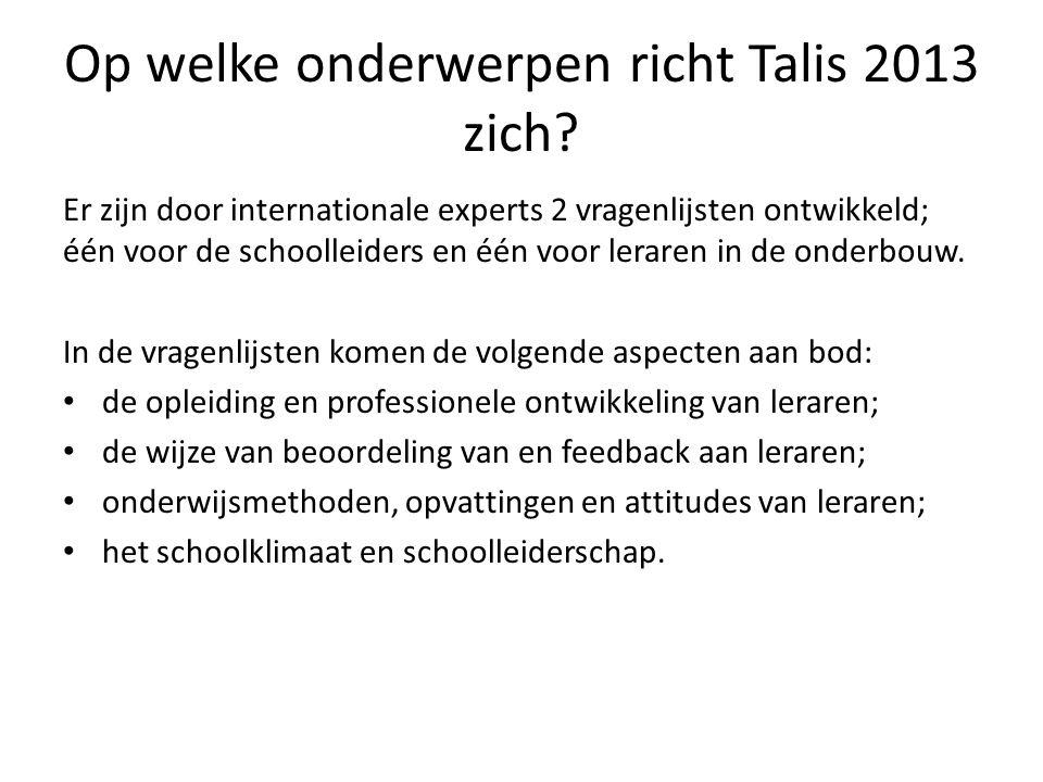 Welke resultaten heeft de eerste ronde van Talis (in 2008) opgeleverd.