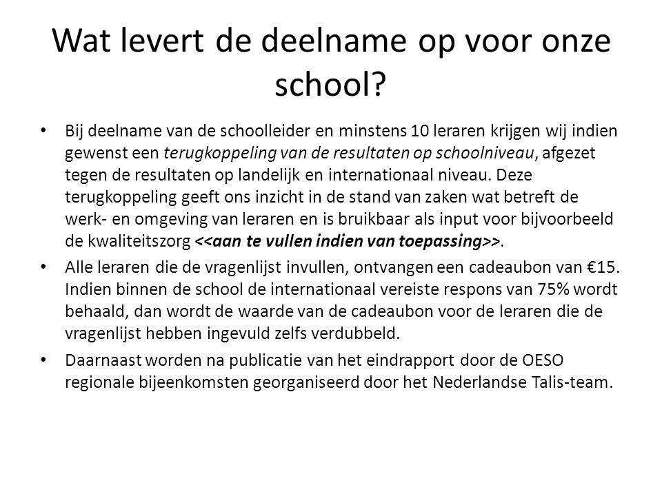 Wat levert de deelname op voor onze school.