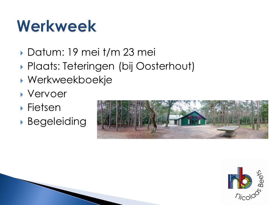  Datum: 19 mei t/m 23 mei  Plaats: Teteringen (bij Oosterhout)  Werkweekboekje  Vervoer  Fietsen  Begeleiding