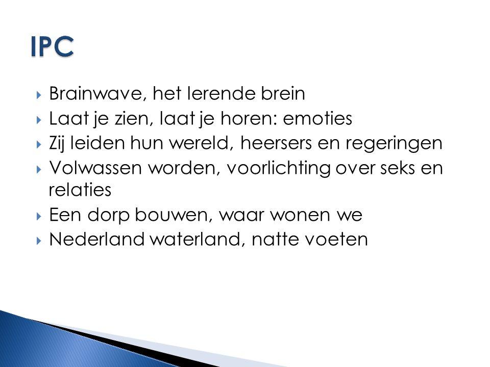  Brainwave, het lerende brein  Laat je zien, laat je horen: emoties  Zij leiden hun wereld, heersers en regeringen  Volwassen worden, voorlichting over seks en relaties  Een dorp bouwen, waar wonen we  Nederland waterland, natte voeten