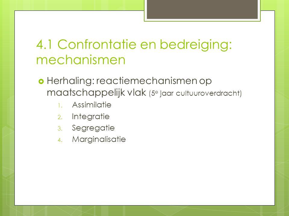 4.1 Confrontatie en bedreiging: mechanismen  Herhaling: reactiemechanismen op maatschappelijk vlak (5 e jaar cultuuroverdracht) 1.