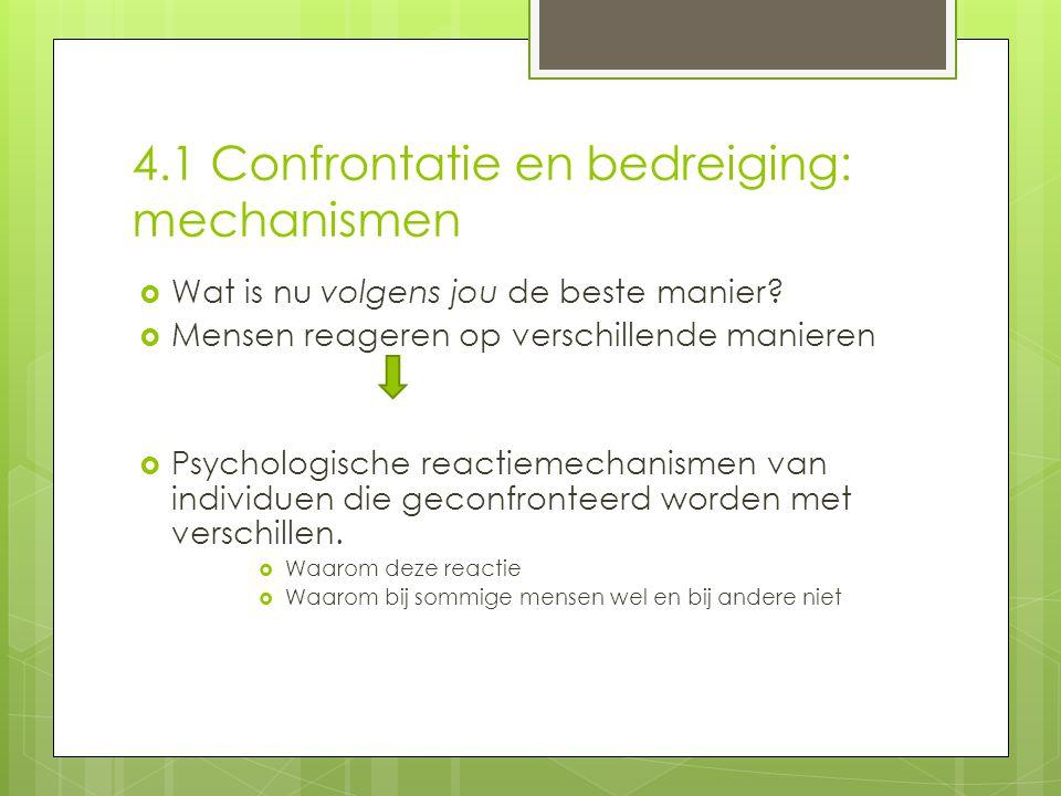 4.1 Confrontatie en bedreiging: mechanismen  Wat is nu volgens jou de beste manier.