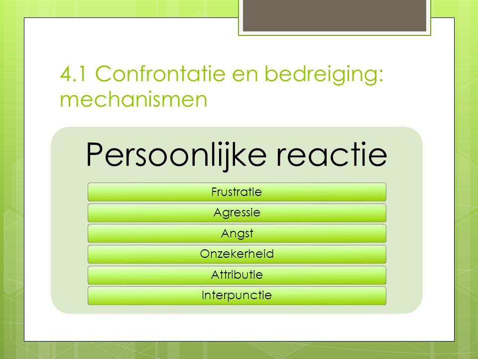 4.1 Confrontatie en bedreiging: mechanismen Persoonlijke reactie FrustratieAgressieAngstOnzekerheidAttributieInterpunctie