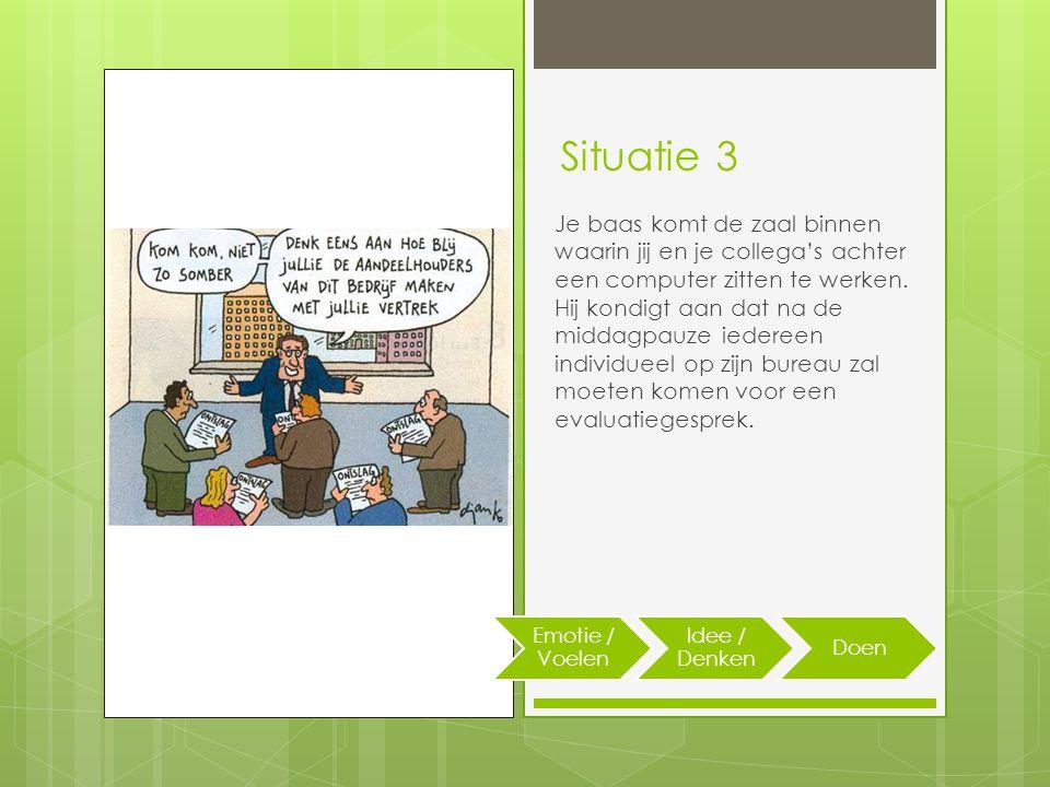 Situatie 3 Je baas komt de zaal binnen waarin jij en je collega's achter een computer zitten te werken.