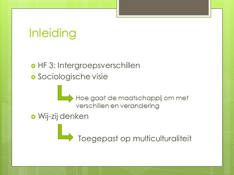 Inleiding  HF 3: Intergroepsverschillen  Sociologische visie Hoe gaat de maatschappij om met verschillen en verandering  Wij-zij denken Toegepast op multiculturaliteit