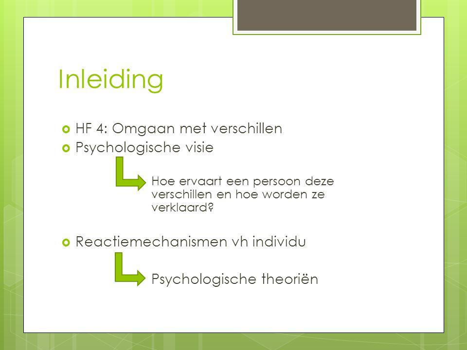 Inleiding  HF 4: Omgaan met verschillen  Psychologische visie Hoe ervaart een persoon deze verschillen en hoe worden ze verklaard.