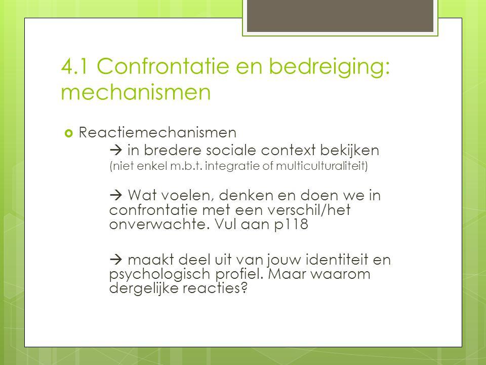4.1 Confrontatie en bedreiging: mechanismen  Reactiemechanismen  in bredere sociale context bekijken (niet enkel m.b.t.