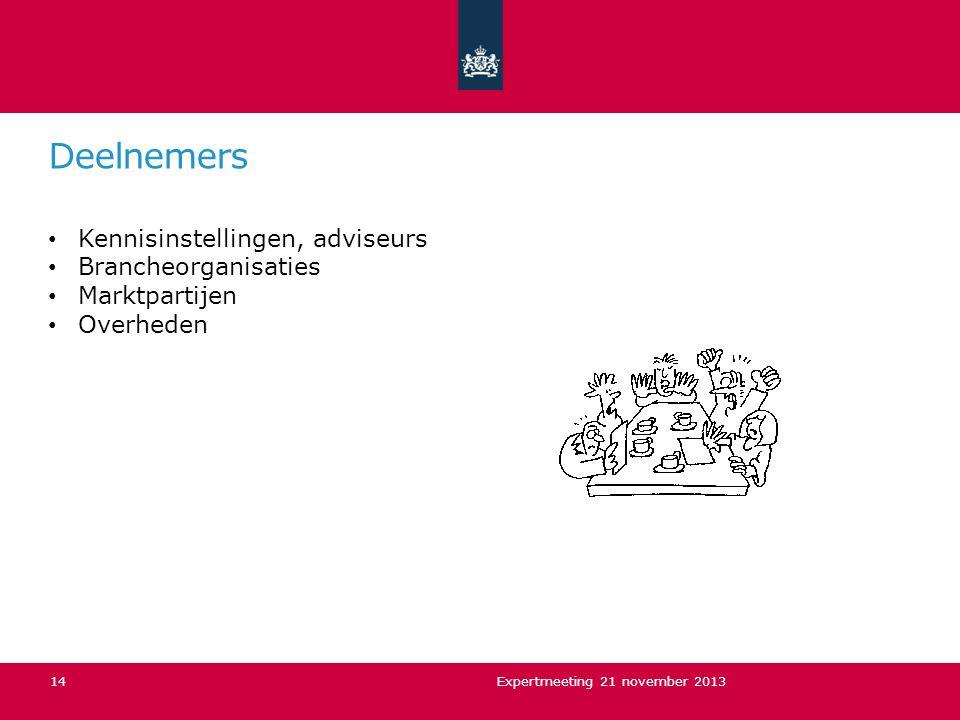Deelnemers Kennisinstellingen, adviseurs Brancheorganisaties Marktpartijen Overheden Expertmeeting 21 november 201314