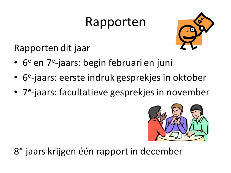 Rapporten Rapporten dit jaar 6 e en 7 e -jaars: begin februari en juni 6 e -jaars: eerste indruk gesprekjes in oktober 7 e -jaars: facultatieve gespre