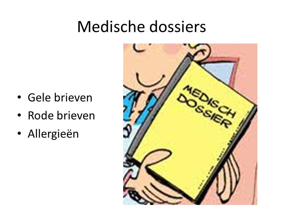 Medische dossiers Gele brieven Rode brieven Allergieën