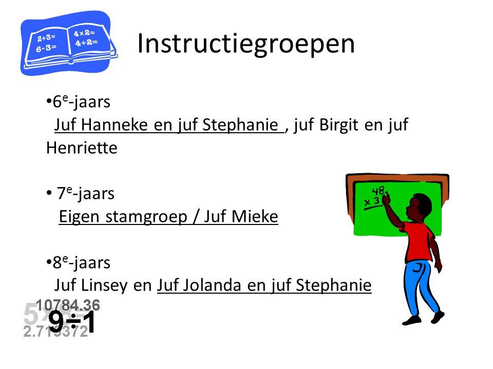 Instructiegroepen 6 e -jaars Juf Hanneke en juf Stephanie, juf Birgit en juf Henriette 7 e -jaars Eigen stamgroep / Juf Mieke 8 e -jaars Juf Linsey en