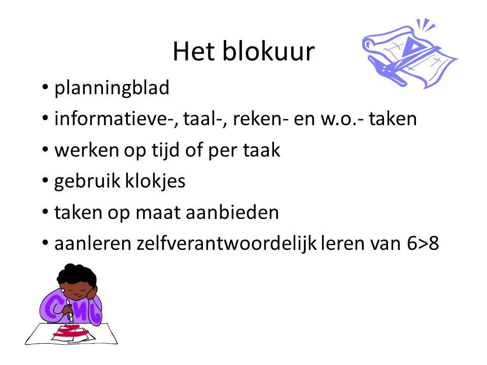 Het blokuur planningblad informatieve-, taal-, reken- en w.o.- taken werken op tijd of per taak gebruik klokjes taken op maat aanbieden aanleren zelfv