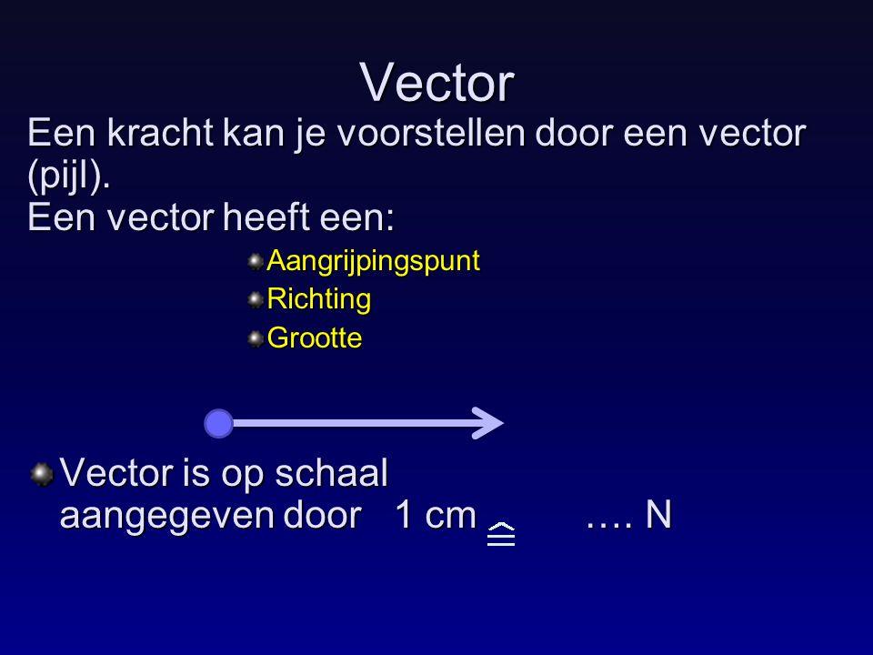 Vector Een kracht kan je voorstellen door een vector (pijl). Een vector heeft een: AangrijpingspuntRichtingGrootte Vector is op schaal aangegeven door