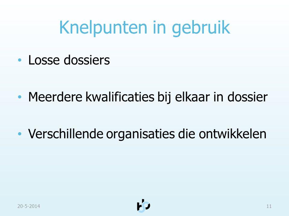Knelpunten in gebruik Losse dossiers Meerdere kwalificaties bij elkaar in dossier Verschillende organisaties die ontwikkelen 20-5-201411
