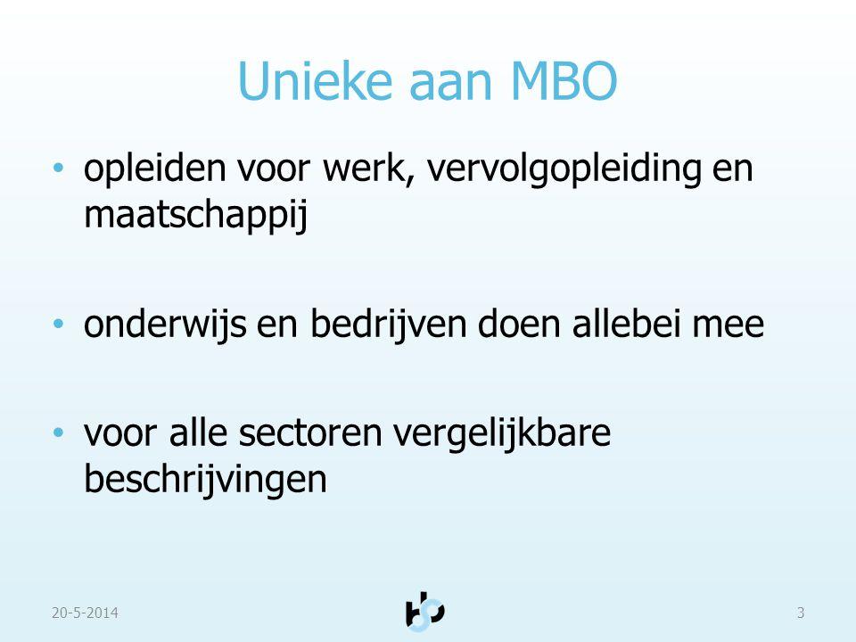 Unieke aan MBO 20-5-20143 opleiden voor werk, vervolgopleiding en maatschappij onderwijs en bedrijven doen allebei mee voor alle sectoren vergelijkbar