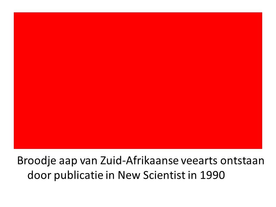 Broodje aap van Zuid-Afrikaanse veearts ontstaan door publicatie in New Scientist in 1990