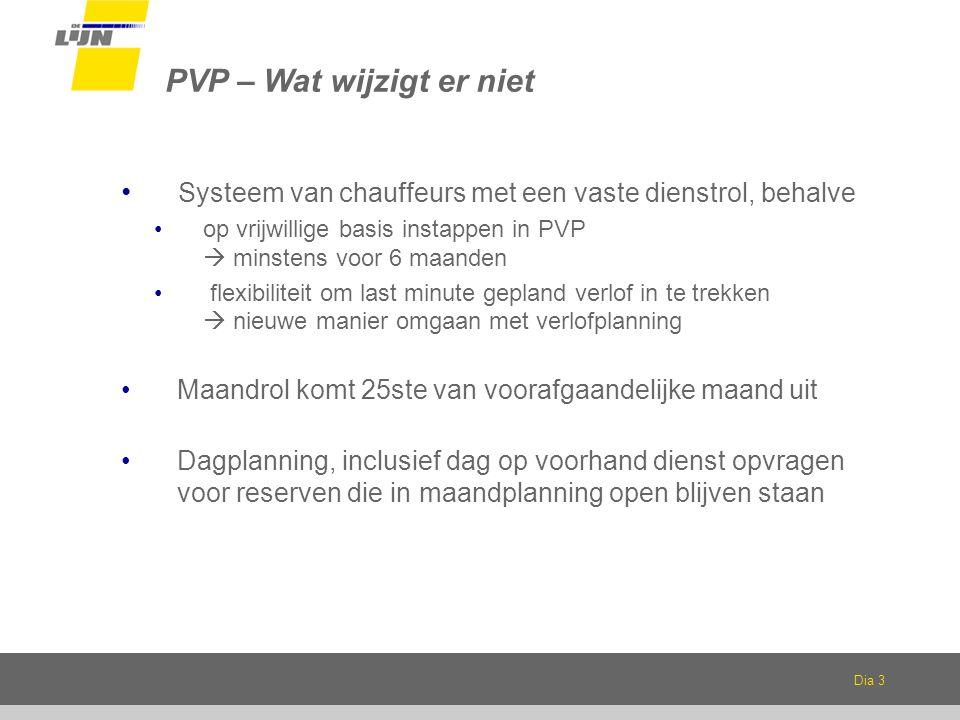 Dia 3 PVP – Wat wijzigt er niet Systeem van chauffeurs met een vaste dienstrol, behalve op vrijwillige basis instappen in PVP  minstens voor 6 maanden flexibiliteit om last minute gepland verlof in te trekken  nieuwe manier omgaan met verlofplanning Maandrol komt 25ste van voorafgaandelijke maand uit Dagplanning, inclusief dag op voorhand dienst opvragen voor reserven die in maandplanning open blijven staan