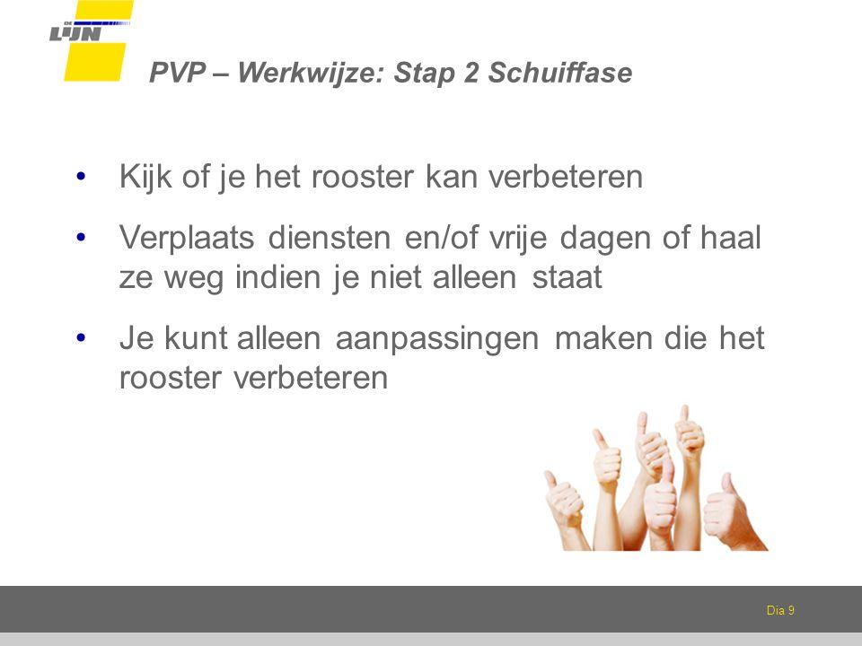 Dia 9 PVP – Werkwijze: Stap 2 Schuiffase Kijk of je het rooster kan verbeteren Verplaats diensten en/of vrije dagen of haal ze weg indien je niet alleen staat Je kunt alleen aanpassingen maken die het rooster verbeteren