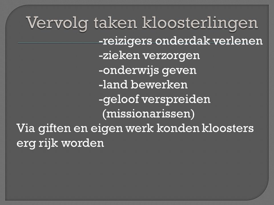 In 650 ging Willibrordus naar het gebied van de Friezen -bouwde in Utrecht een kerk -maakte Utrecht tot centrum van de kerk in Nederland -werd door de Friezen uiteindelijk verdre- ven naar Luxemburg In 716 ging Bonifatius naar Nederland -zet het werk van Willibrordus voort (ook in Duitsland) -wordt in 754 bij Dokkum door de Friezen vermoord