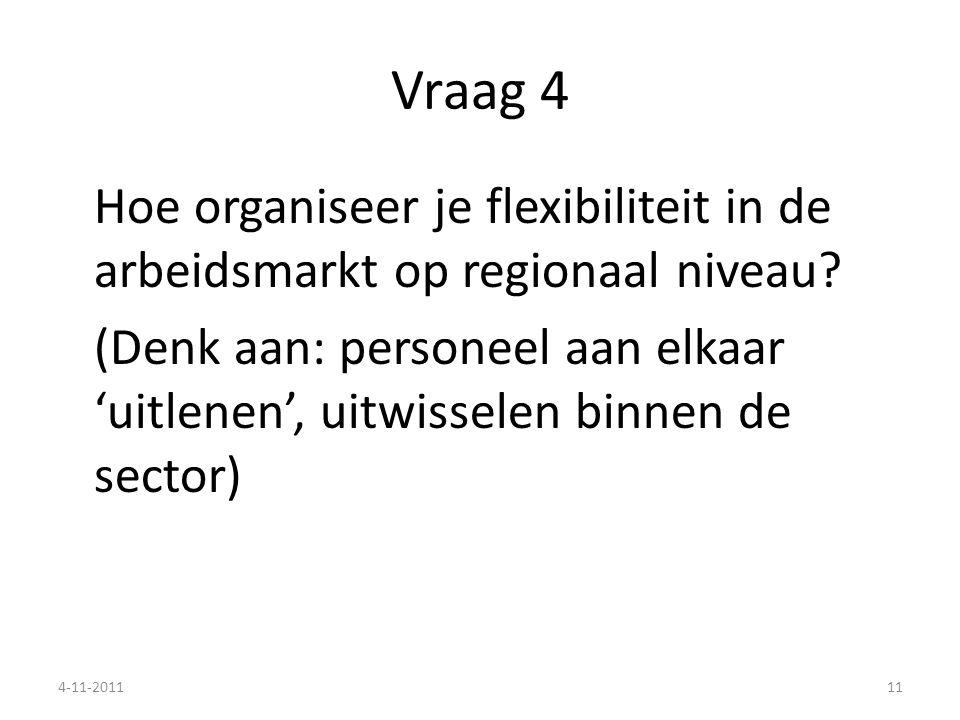 Vraag 4 Hoe organiseer je flexibiliteit in de arbeidsmarkt op regionaal niveau? (Denk aan: personeel aan elkaar 'uitlenen', uitwisselen binnen de sect