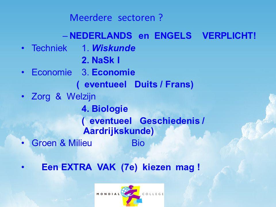 Meerdere sectoren ? –NEDERLANDS en ENGELS VERPLICHT! Techniek 1. Wiskunde 2. NaSk I Economie 3. Economie ( eventueel Duits / Frans) Zorg & Welzijn 4.
