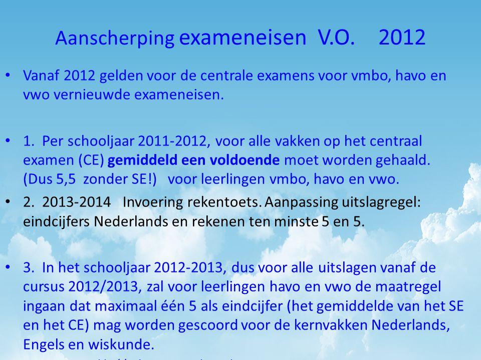 Aanscherping exameneisen V.O. 2012 Vanaf 2012 gelden voor de centrale examens voor vmbo, havo en vwo vernieuwde exameneisen. 1. Per schooljaar 2011-20
