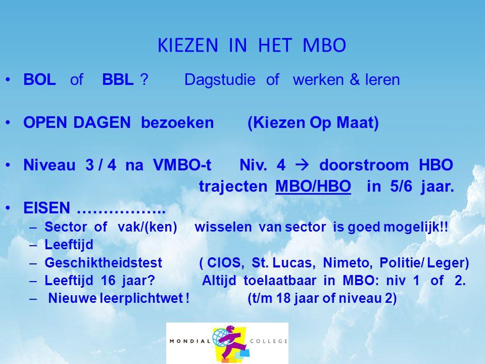 KIEZEN IN HET MBO BOL of BBL ? Dagstudie of werken & leren OPEN DAGEN bezoeken(Kiezen Op Maat) Niveau 3 / 4 na VMBO-t Niv. 4  doorstroom HBO trajecte
