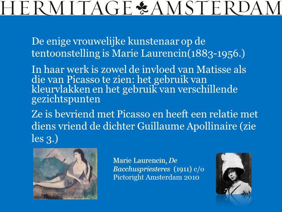 De enige Nederlandse kunstenaar op de tentoonstelling is Kees van Dongen (1877-1968.) Kees van Dongen, Dame met zwarte hoed (1908) c/o Pictoright Amsterdam 2010 Van Dongen ontmoet Matisse en is één van de fauvisten die in 1905 in Parijs hun werk tentoonstellen.