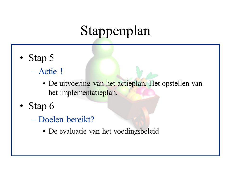 Stappenplan Stap 5 –Actie ! De uitvoering van het actieplan. Het opstellen van het implementatieplan. Stap 6 –Doelen bereikt? De evaluatie van het voe